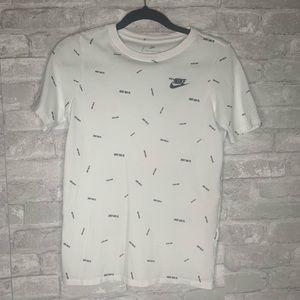 Boys Nike Tee Shirt. White with black logos